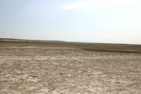 Badlands with dried lake