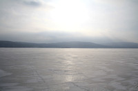 Ghost lake frozen in the winter